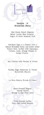 Lavender Inn: Sample menu