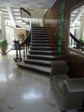 Hostel Casa Del Parque: Escalera desde la sala de estar hacia los dorms