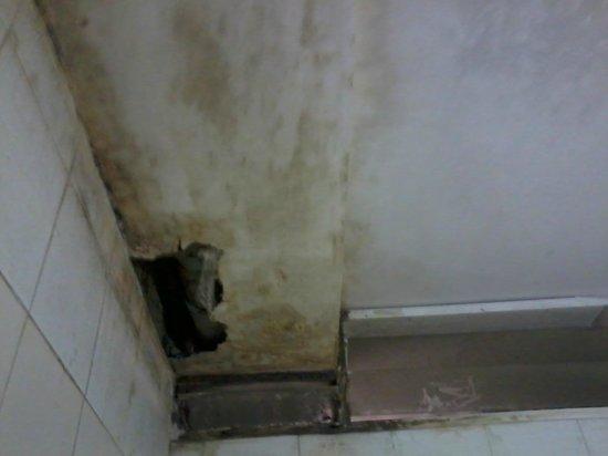 The Bathroom Ceiling Is Broken And Leaking Sewage Pipe Can Be Seen - Bathroom leak ceiling repair
