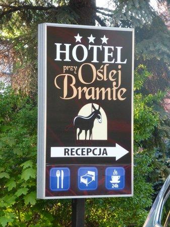 Przy Oslej Bramie: Sign for Hotel and Restaurant