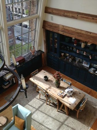 Greenwich Hotel: View of dining table from loft