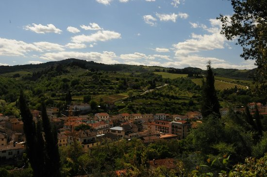 Podere Campriano: A view from the room overlooking Greve in Chianti and the surrounding hills
