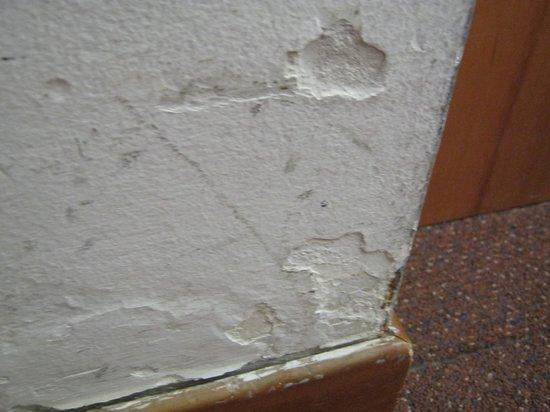 Albavilla Hotel: Filty bedroom walls