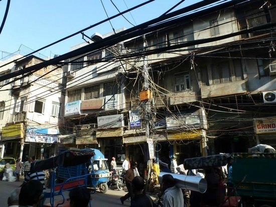 Image result for With electric wires all over, Chandni Chowk
