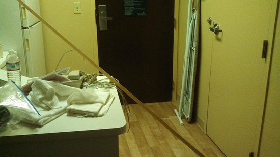 Extended Stay America - Atlanta - Marietta - Windy Hill: This is how the phone & ironing board were delivered; note the corner molding that fell off the