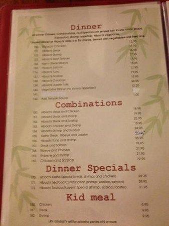 Kissho Japanese Restaurant: menu