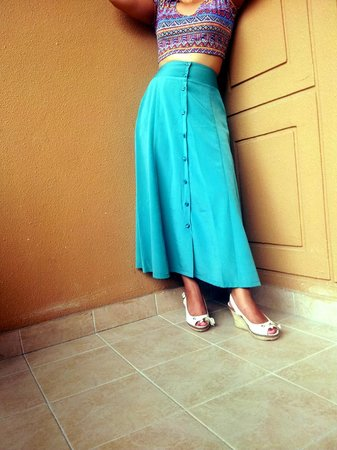 Khoi Custom Tailor : Gorgeous teal vintage-style high waisted skirt