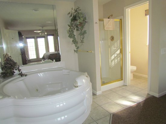 Grand Crowne Resort: Tub, shower, and toilet in the bedroom