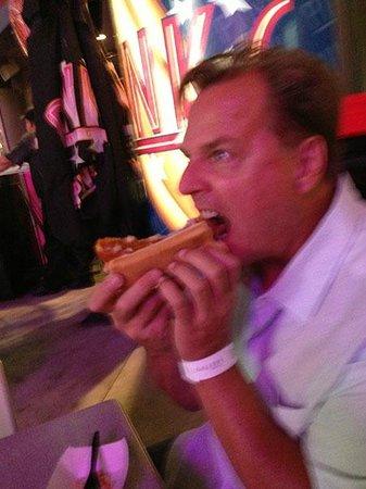 Pink's Las Vegas: Enjoying a polish sausage at Pinks, Las Vegas!