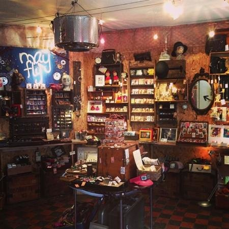 MayFly: as you enter- a treasure trove of handmade curiosities and accoutrements many made in house by a