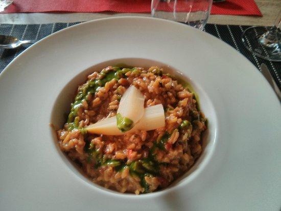 els jardins de la merce: Risotto de verduras con gemas de espárragos