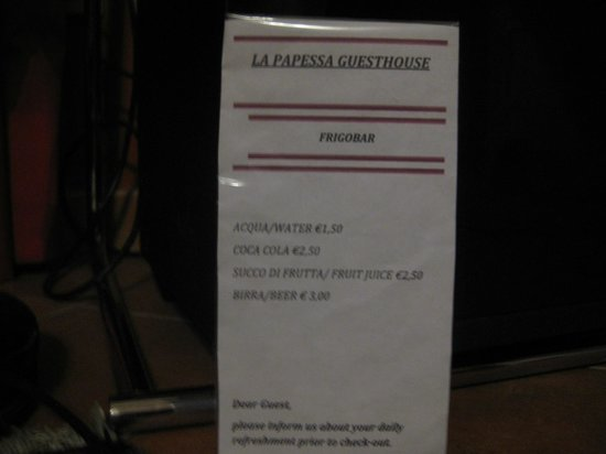 La Papessa: list of prices as of May 2013