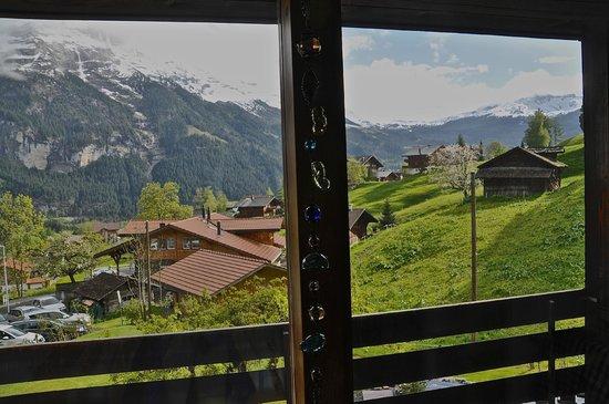 Hotel Lauberhorn: Aussicht. Mit schöner Dekokette.