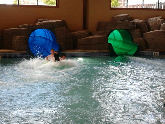 Great Wolf Lodge: water slides exit into pool then flow to lazy river