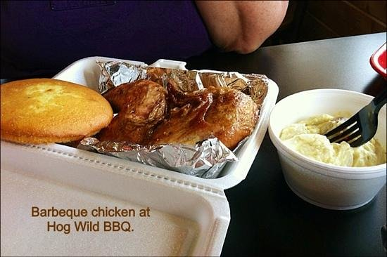 Hog Wild BBQ: Try the chicken, it's great. Side is potato salad