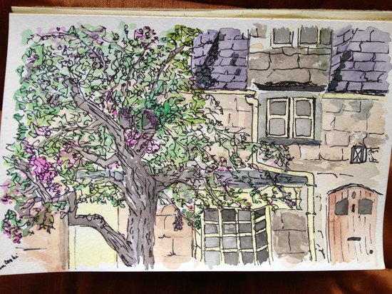 Lygon Arms Hotel: Water color I painted from our window on a rainy afternoon