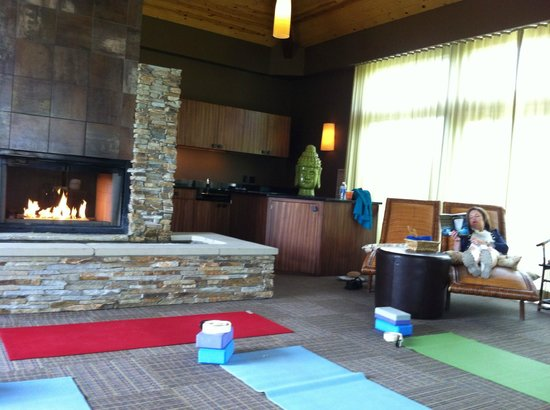 Inn Walden: Great Room with fireplace and waterfall