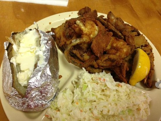 The Crab Shack: Two large soft shell crabs come with a large baked potato and a huge portion of creamy cole slaw
