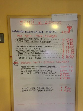 L'Arcobaleno : Daily menu