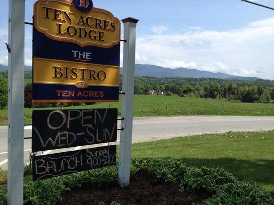 Bistro at Ten Acres : Restaurant Sign