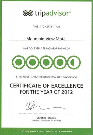 Mountain View Motel: 2012 Award-certificate
