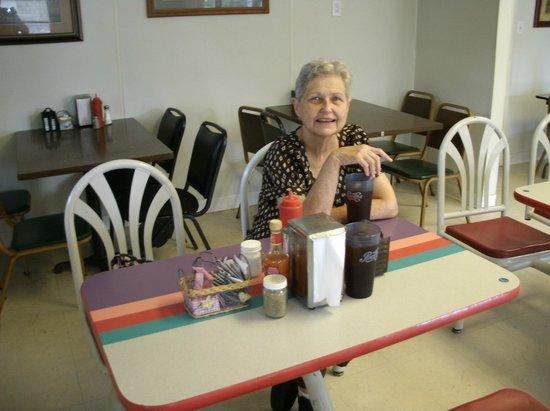 Linda's Diner: Inside Martha Dooley eating,