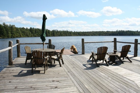 White Pine Camp: Dock at new boathouse