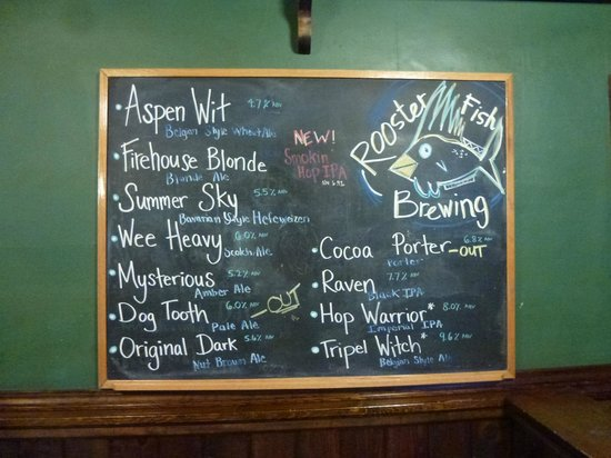 The Wildflower Café & The Crooked Rooster Brewpub : Rooster Fish Brewing Beer Menu