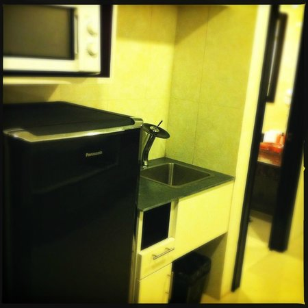 Rashmi's Plaza Hotel: Microwave and washing up area