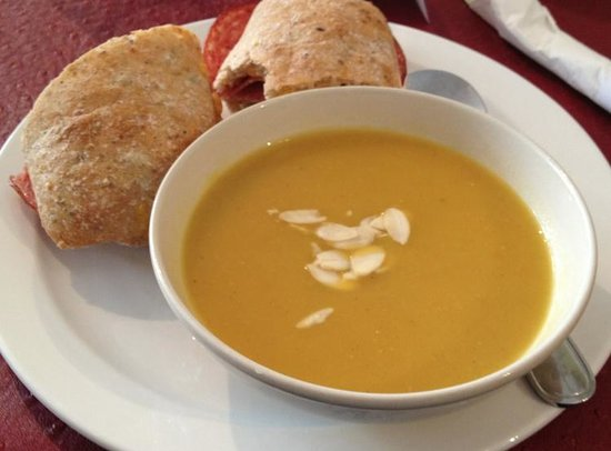 The Piano Cafe: Butternut squash soup, (sorry I took a bite of the sandwich)