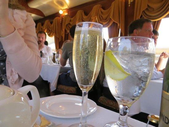 Napa Valley Wine Train: a lovely bottle of champagne for the celebration