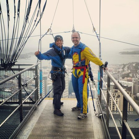 SkyJump and SkyWalk: before the jump...yes I survived.