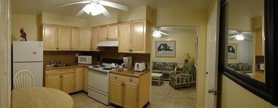 Tropical Breeze Beach Club: Unit #22 kitchen & living room