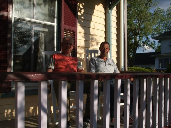 The River Gem BnB: My brother and I relaxing on the porch