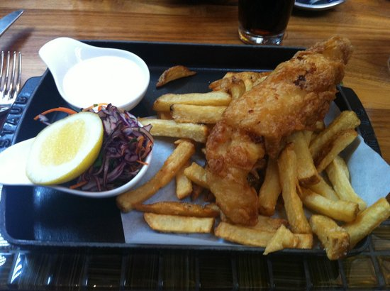 YEW seafood + bar: Nicely presented fish and chips