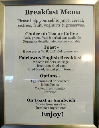 Fairlawns Guest House: Breakfast menu