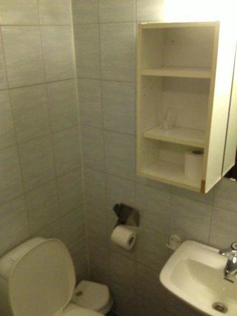 Marche Rygge Vest Airport Hotel : Slitet badrum med smutsig och trasig hylla