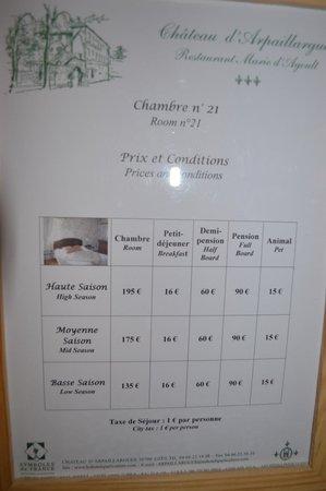 Chateau d'Arpaillargues: Tarifs de notre chambre (un peu prohibitique, non ?)