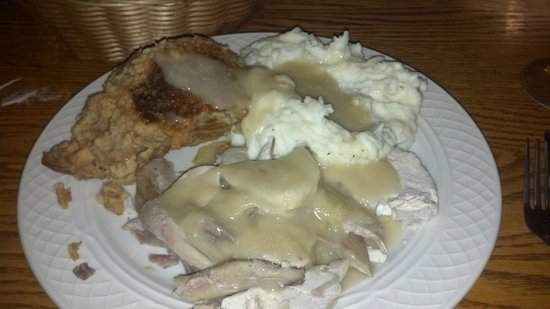 Pine Grill: Fresh roasted turkey, stuffing, mashed potatoes, and gravy.  Also they served warm rolls and sal
