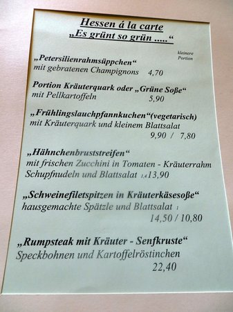 Frankenberg, Deutschland: Teil der Speisekarte