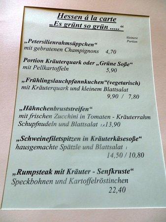 Frankenberg, Németország: Teil der Speisekarte