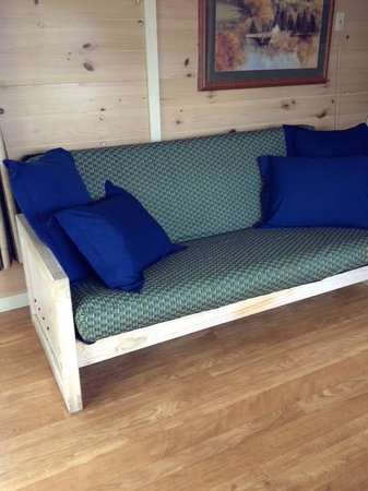 Worlds of Fun Village: Futon couch in living room area