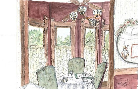 Woodbine Hotel and Restaurant: Susan's watercolor of the turret table in the dining room