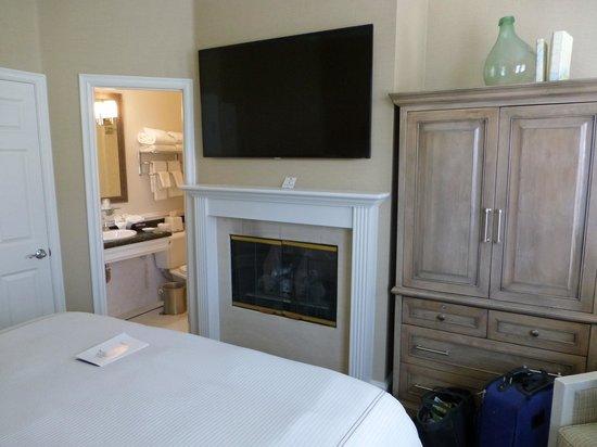 Fireplace in the Santa Barbara room Snug Harbor Inn , Avalon