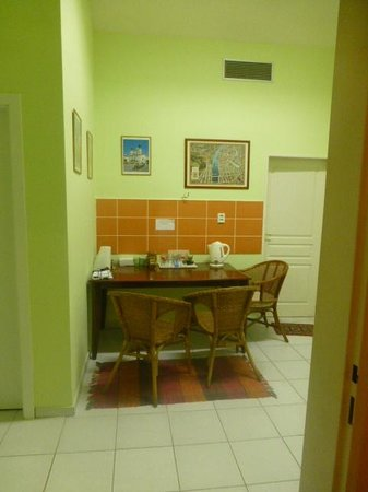 "Hostel Praha-Prague""s Heaven: dining area w/ bathroom door to right"
