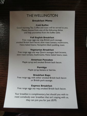 The Wellington Hotel: Hot breakfast menu (included no charge for hotel guests)