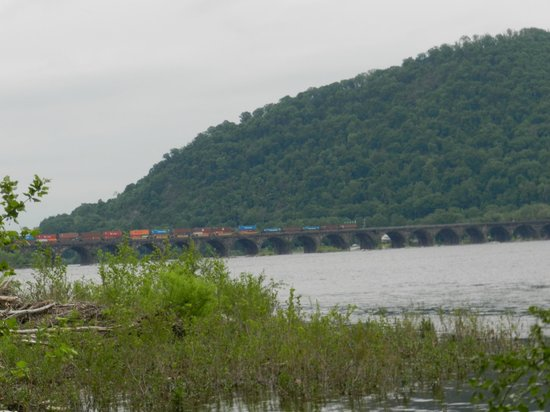 Fort Hunter Mansion and Park : Train going over the Susquehanna river