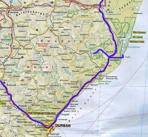 Lighthouse Inn: Mooie route met Durban als start.