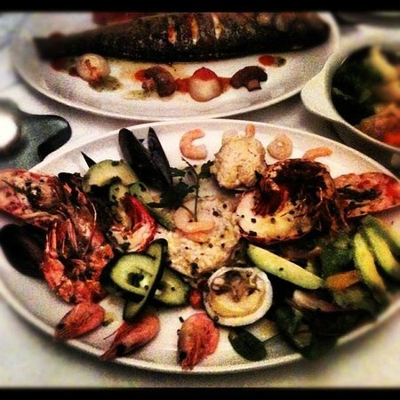 Mediterranean: the seafood platter (sea bass in the back shot).