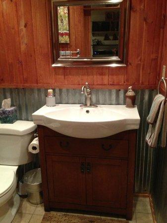 3 Dogs & A Moose: Super cute bathroom with corrugated tin siding